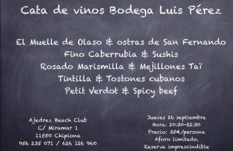 Cata de vinos el 26 de septiembre en Ajedrez Beach Club de Chipiona