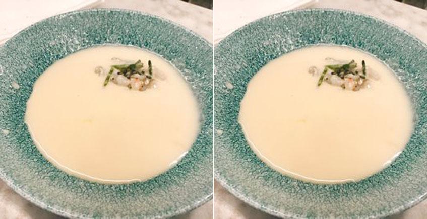 El ajo blanco con tartar de cigala del restaurante El Faro