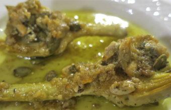 Las alcachofas con pipas de calabaza y berberechos  del restaurante Los Esteros