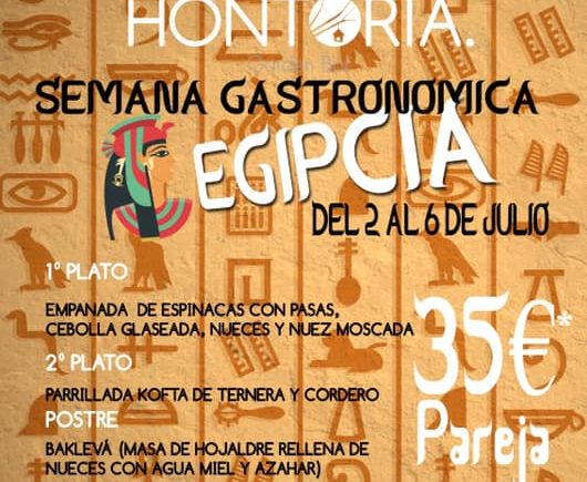 Semana gastronómica egipcia en el Hontoria del 2 al 6 de julio