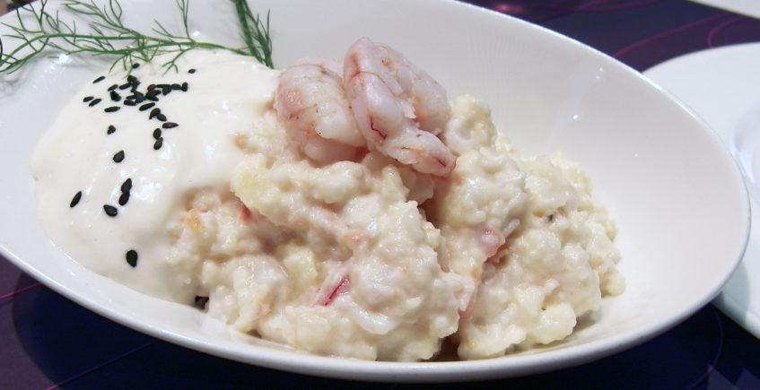 La ensaladilla de gambas con mayonesa ligera de Barra Siete