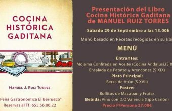 29 de septiembre. Medina Sidonia. Presentación libro y almuerzo cocina histórica.
