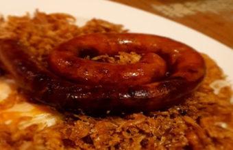 Los camarones con huevo y chistorra marina de La Taberna del Chef del Mar