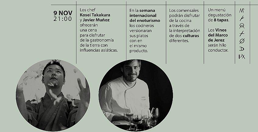 9 de noviembre. Jerez. Cena de Kosei Takakura y Javier Muñoz en La Carboná
