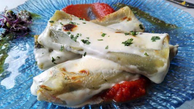 Los canelones de espinacas de la pizzeria La Roma