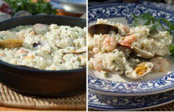 El arroz en salsa verde con gambas y almejas de La Marea