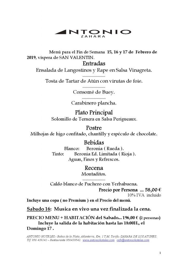 RESTAURANTE ANTONIO - SAN VALENTIN 2019-001