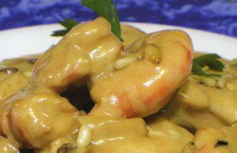 Rape en salsa al oloroso con almejas y langostinos del restaurante El Roqueo