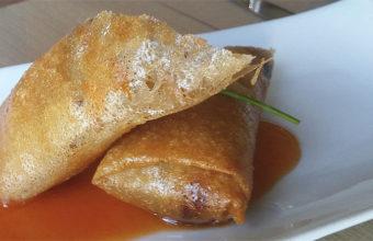 El rollito de setas y pasta del restaurante La Fábrica