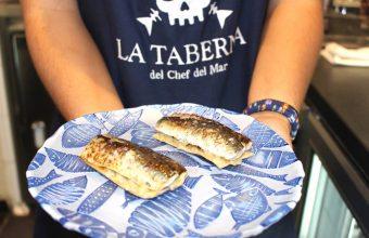 Las sardinas a la brasa con berenjenas de La Taberna del Chef del Mar