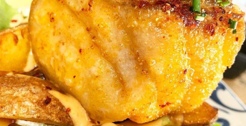 El taco de corvina frita de Cuatro Estaciones