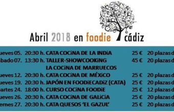 Del 5 al 27 de abril. Cádiz. Programación del mes de abril de Foodie Cádiz.