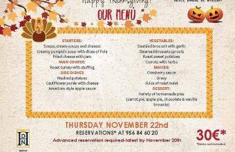 22 de noviembre. Rota. Menú especial de Acción de Gracias en el Restaurante El Embarcadero