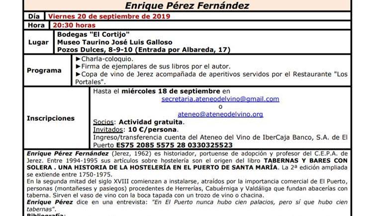 Charla coloquio sobre las tabernas de El Puerto el día 20 de septiembre