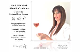 20 de enero. El Puerto. Cata de tres vinos de Álvaro Domecq y cocina mexicana
