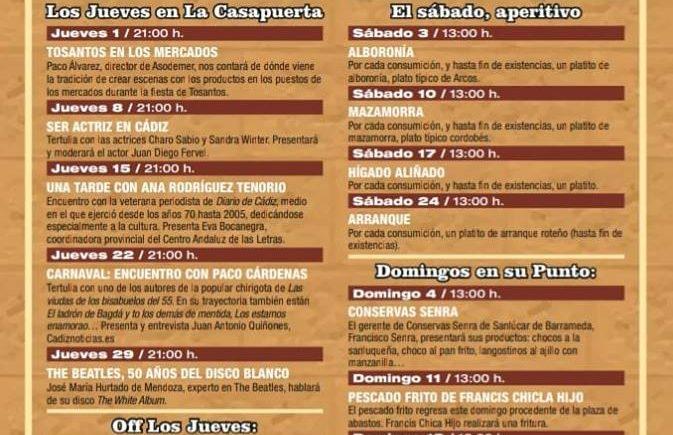 Del 3 al 25 de noviembre. Cádiz. Sábados de aperitivos y domingos en su punto en La Casapuerta