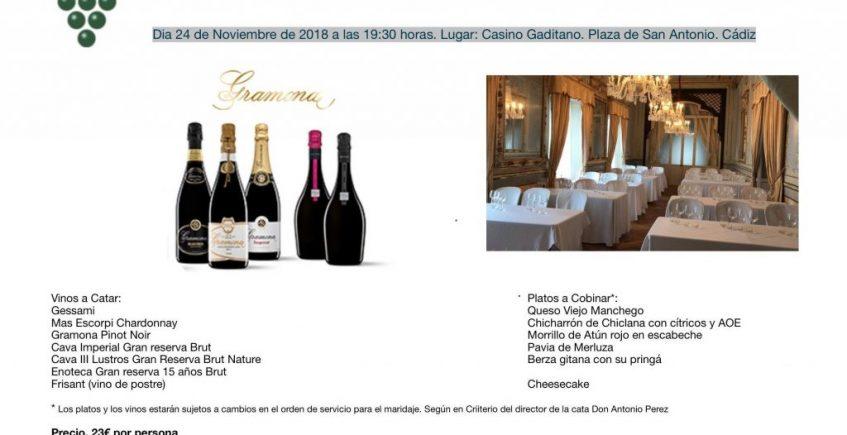 24 de noviembre. Cádiz. Cata de vinos de Bodegas Gramona en Cádiz