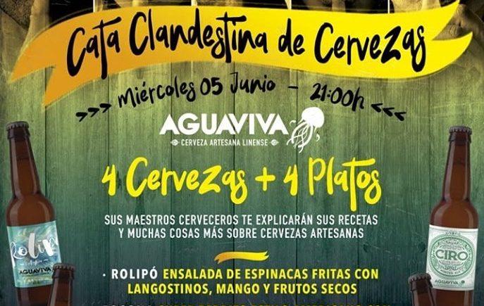 Cata maridada de cervezas Aguaviva en Barbas de La Línea el 5 de junio