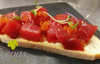 Menú degustación de atún rojo de almadraba en el Restaurante Cepas de Algeciras el 31 de mayo