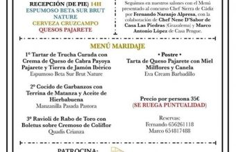 8 de junio. Bornos. Menú maridaje Chef Sierra de Cádiz