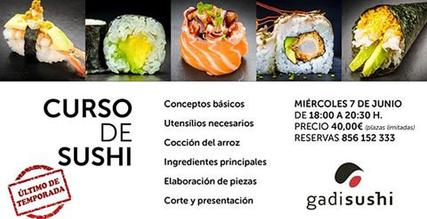 7 de junio. Cádiz. Curso de sushi en Gadisushi