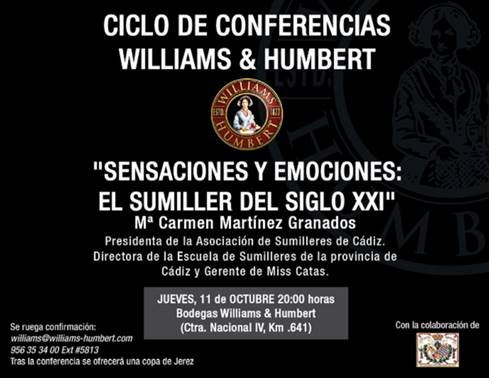 11 de octubre. Jerez. Conferencia el sumiller del siglo XXI