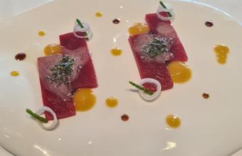 El usuzukuri de atún del restaurante El Campero