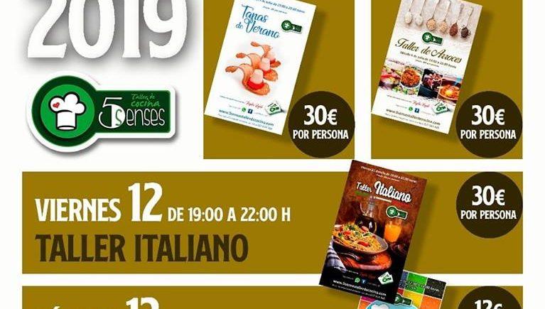 Programación de talleres de cocina de 5 Senses de Jerez para julio