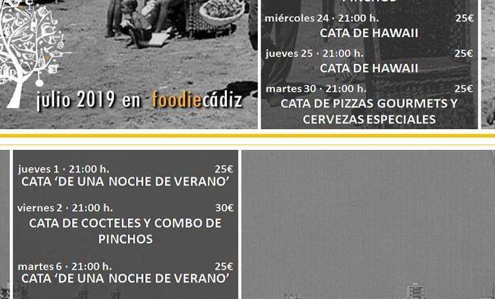 Programación de catas de Foodie Cádiz para julio y agosto