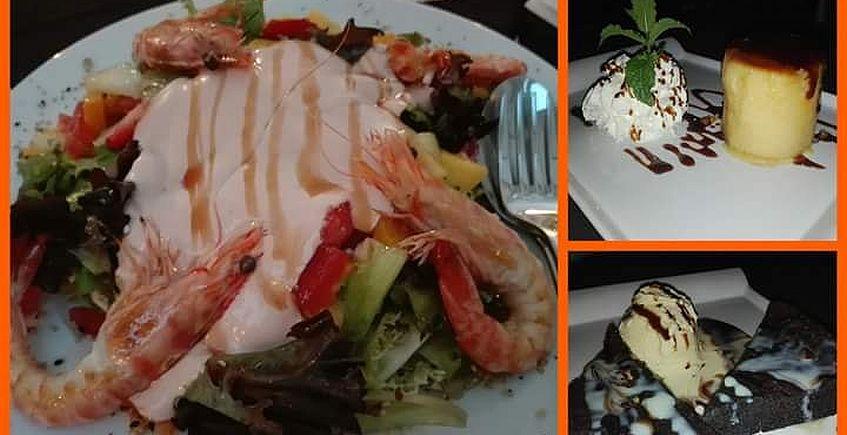 La ensalada de frutas con langostinos del restaurante Tato