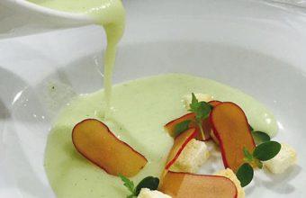 Gazpacho de melón y huevas de maruca