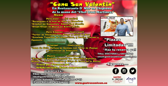 14 de febrero. Chipiona. Cena de San Valentín en D'Mar