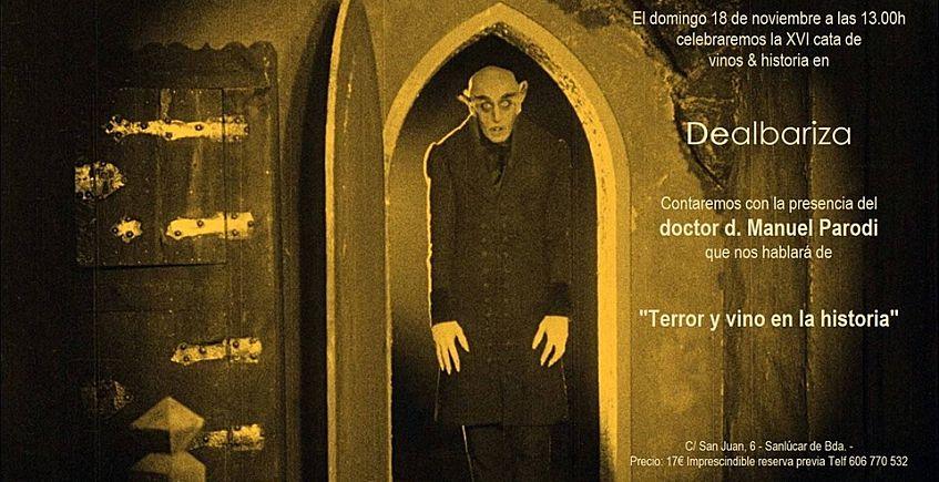 """18 de noviembre. Sanlúcar. Cata de vinos e historia """"Terror y vino"""""""