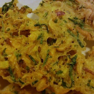 Las tortillitas de camarones y salicornia.