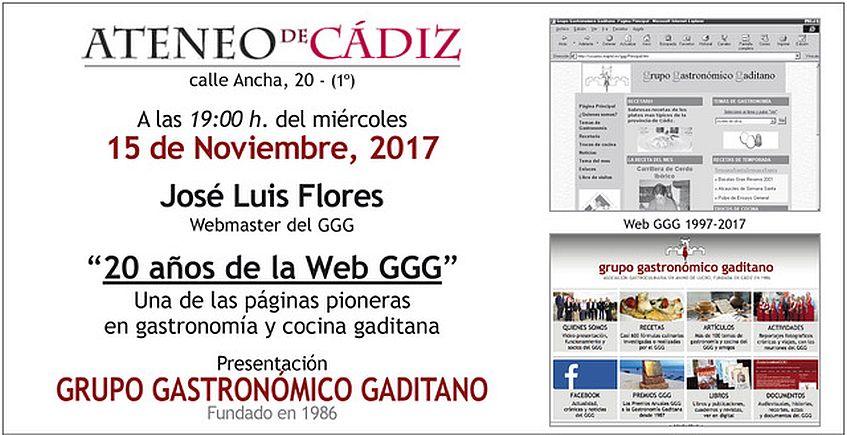 15 de noviembre. Cádiz. Tertulia sobre 20 años de la web del Grupo Gastronómico Gaditano