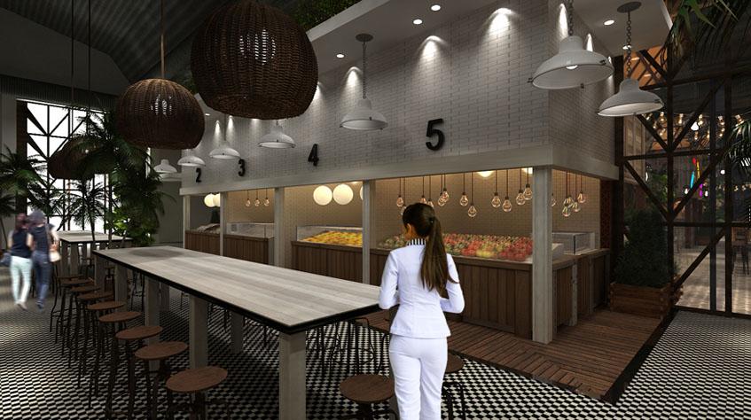 Zona destinada a los puestos. En el centro el espacio destinado para que los clientes puedan sentarse a comer lo que compren.