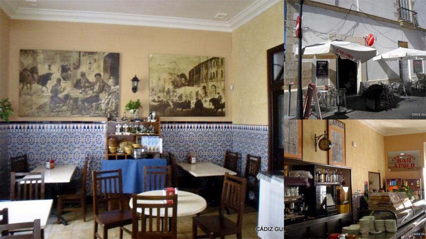 Asì era el bar Apolo hasta hace unos meses. Su imagen estaba intacta desde la década de los 90 del siglo XX, cuando hizo una remodelación Juan Benitez Verano, padre de los actuales gerentes. La foto ha sido cedida por Manolo Ruiz Torres del blog Cádiz Gusta.