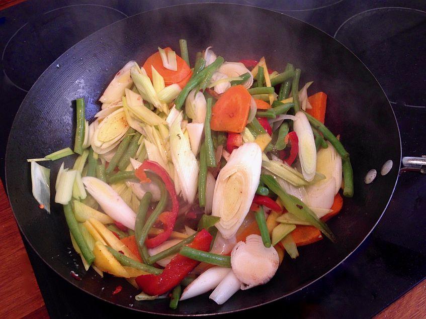 Momento de la preparación de uno de los platos