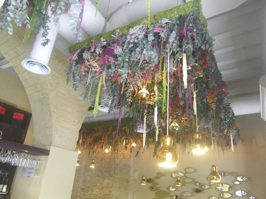Del techo cuelgan multitud de plantas. Foto: Cosasdecome