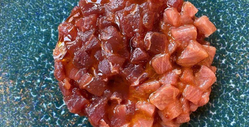 Duo de tartar de atún, tarantelo y lomo negro de Tuétano de Jerez