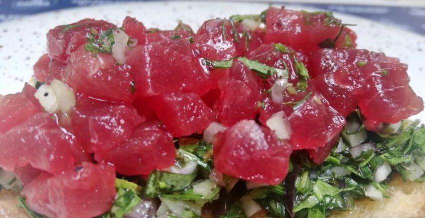 Gustatium de atún rojo de almadraba de la Venta Melchor de Conil