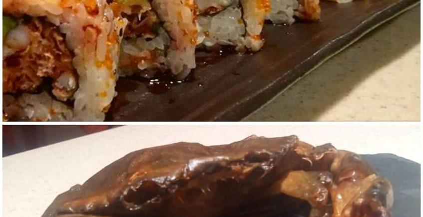 Monster roll, un uramaki que esconde en su interior un cangrejo de concha blanda con aguacate en MauMau de Cádiz