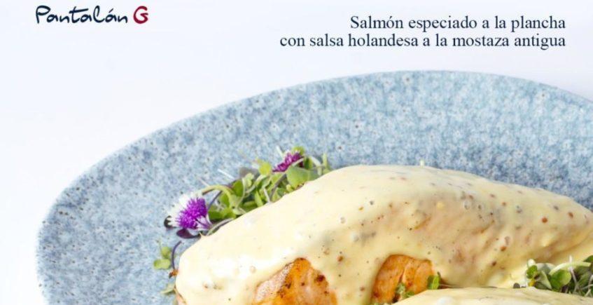 Salmón especiado a la plancha con salsa holandesa a la mostaza antigua de Pantalán G de El Puerto