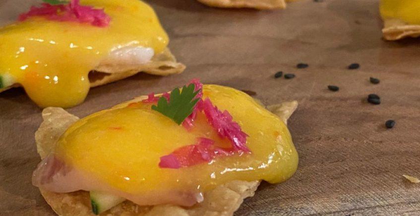 Tiradotos de corvina y ají amarillo de Chile Habanero de Jerez