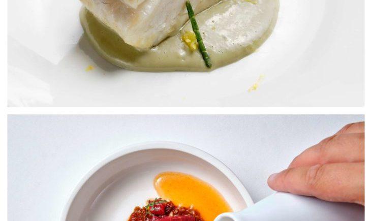 Una muestra del Menú degustación Cádiz al cuadrado de El Faro de Cádiz. En las fotos el Atún en tomate y Lubina
