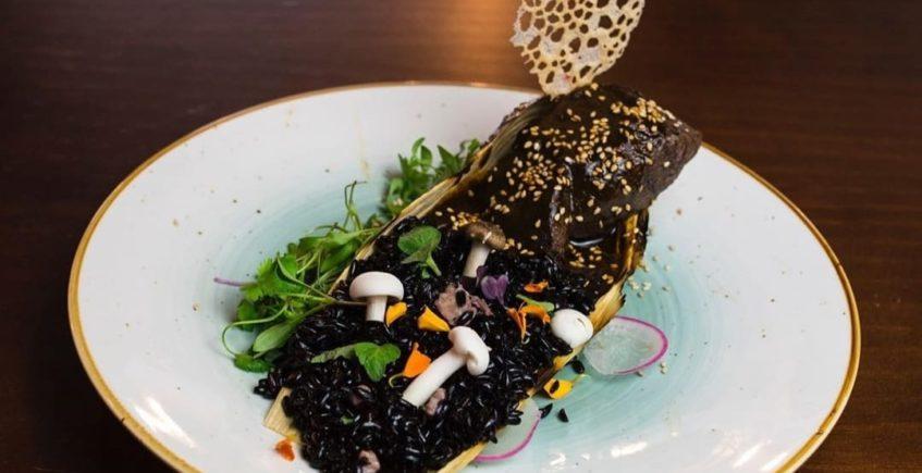 Venado en mole de guayaba con arroz negro, dulce de higo, ensalada y hoja de maíz de Xuúmil de Jerez