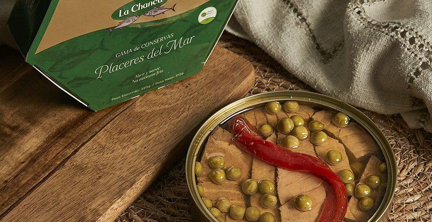 Ventresca de atún con guisantes y pimiento morrón en aceite de oliva de La Chanca de Barbate