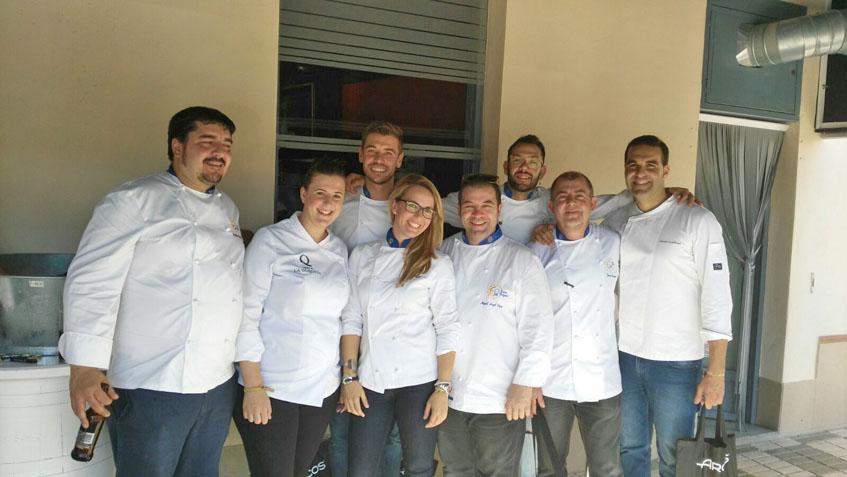 Los cocineros gaditanos de Eurotoques en la reunión que han mantenido recientemente en Sevilla. Entre ellos Javier González. Foto: Cedida por José Sánchez del restaurante El Roqueo.