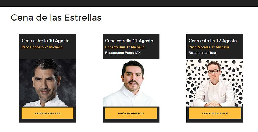 Los chefs Paco Roncero, Roberto Ruiz y Paco Morales serán las estrellas de las Cenas del Tío Pepe Festival