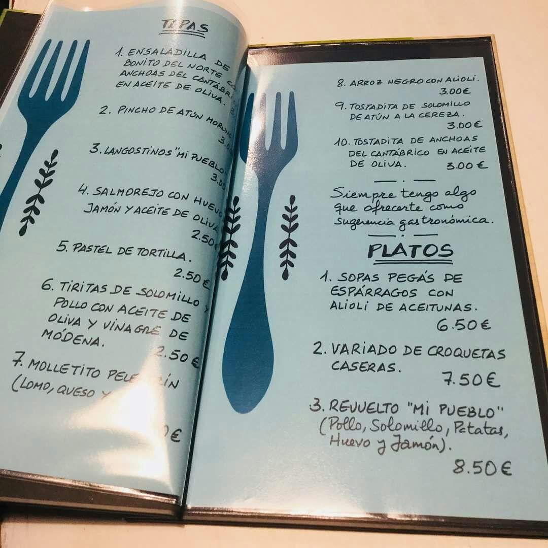 El menú especial de la Bodeguita Mi Pueblo
